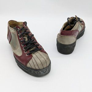 John Fluevog Provogs Gray Lace Up Platform Sneaker